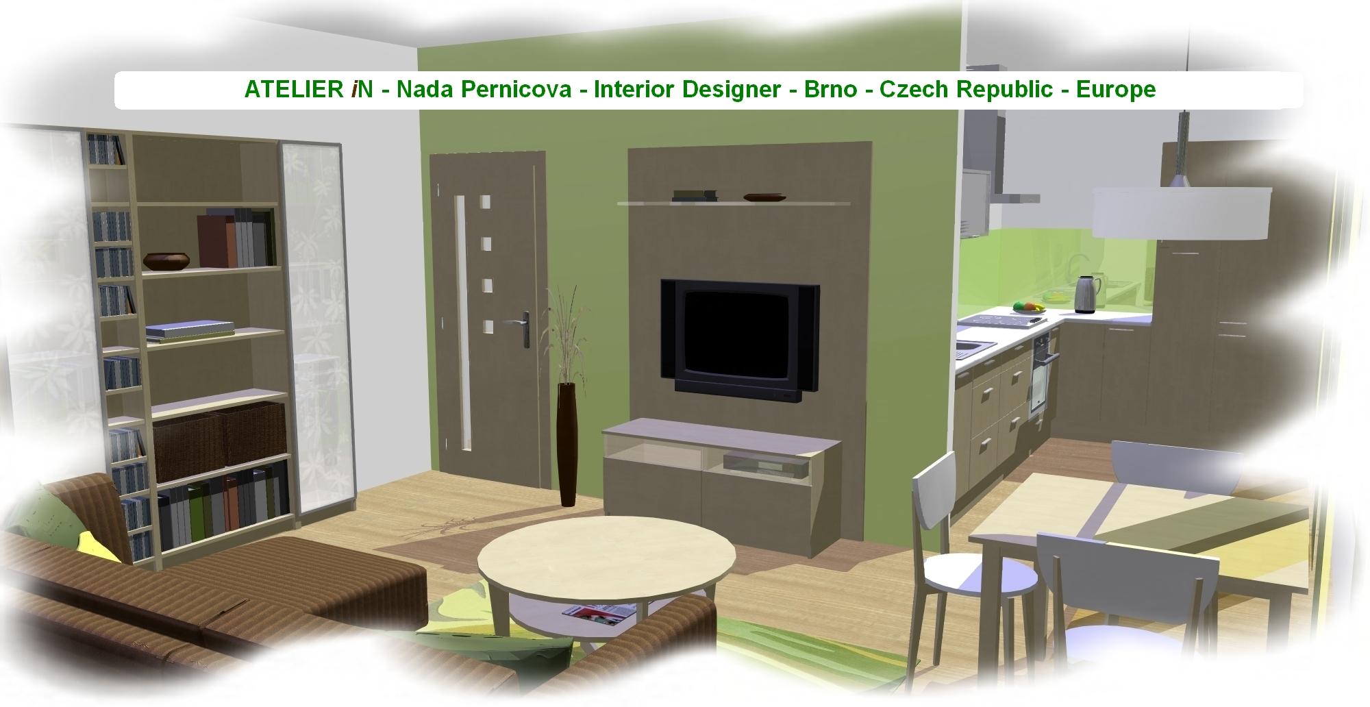 ATELIÉR iN - Obývací pokoj s kuchyňským koutem - 1c | Living room with kitchen - 1c
