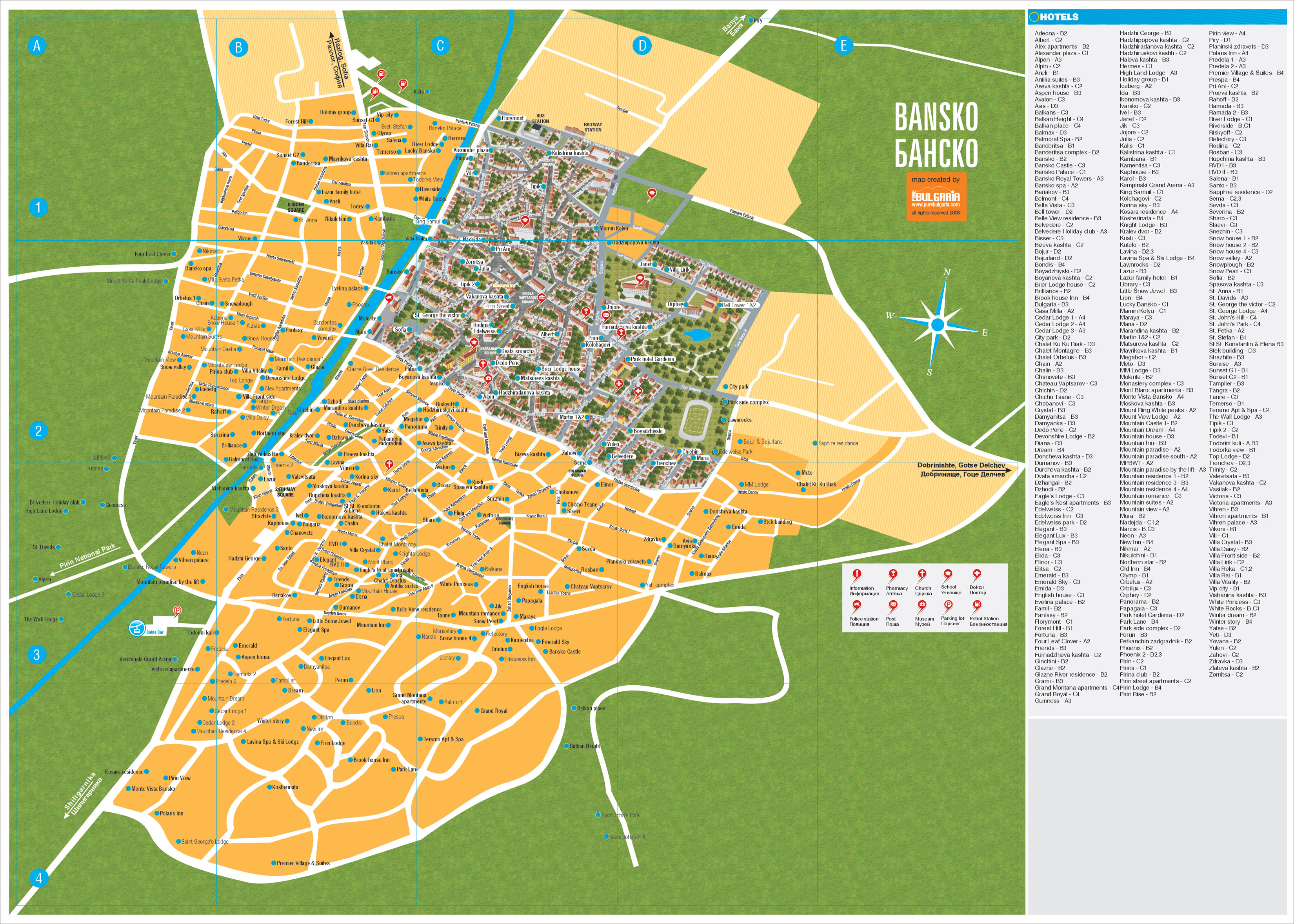 Bansko, city map, Bulgaria