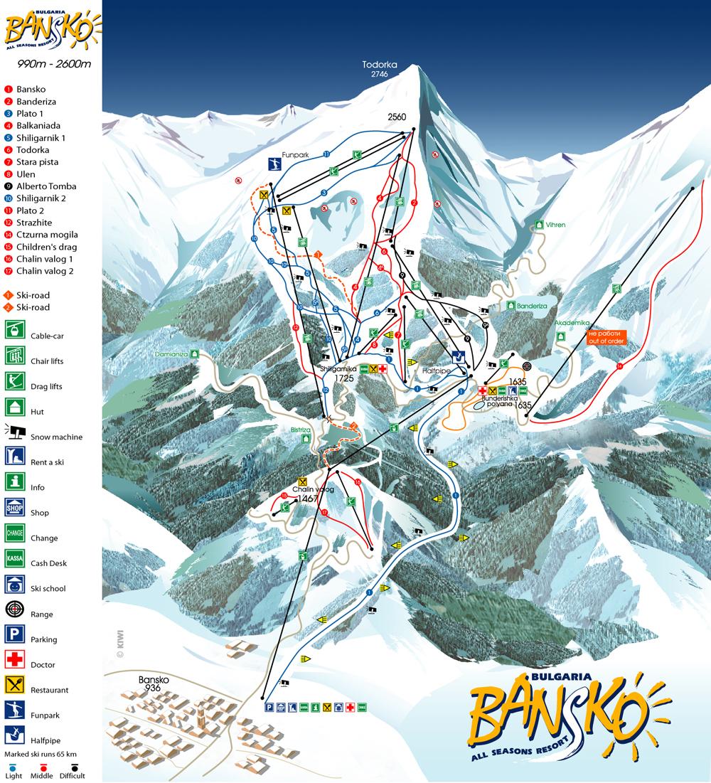 Bansko, ski map, Bulgaria