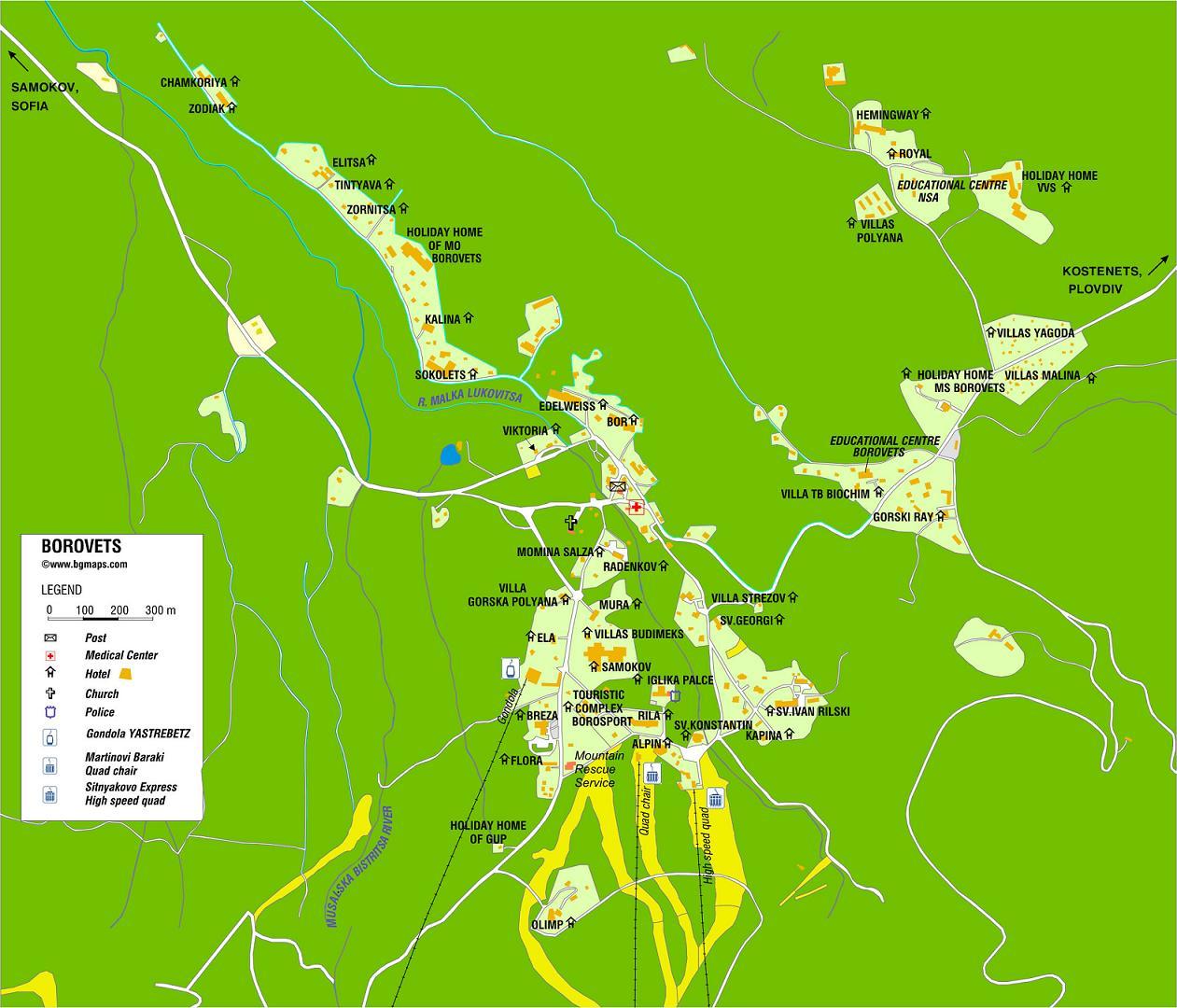 Borovets, city map, Bulgaria