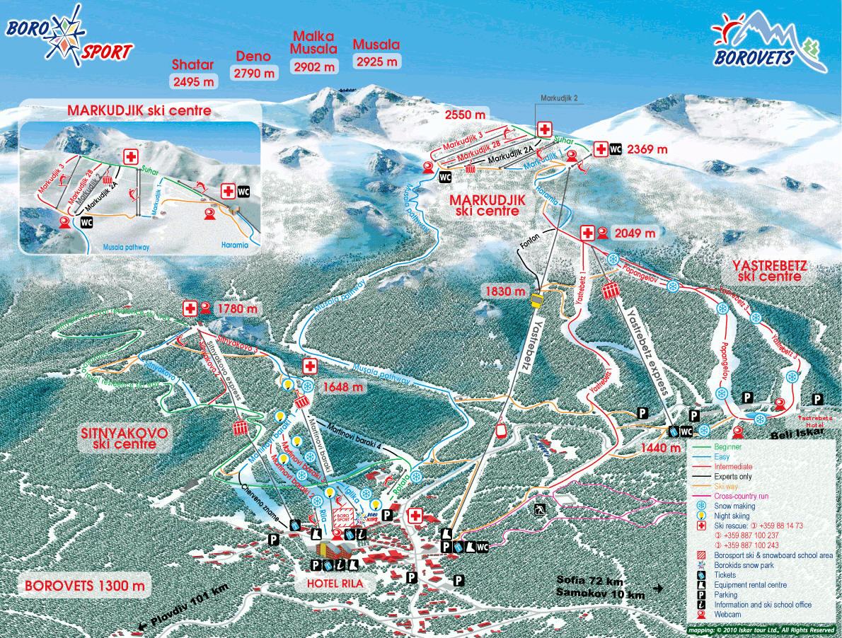 Borovets - Ski map - piste, slopes, lifts