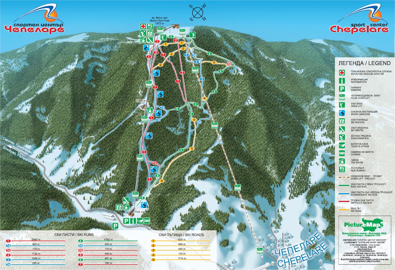 Chepelare, ski map, Bulgaria