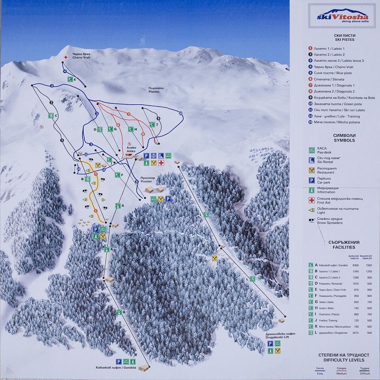 Vitosha - Ski map - piste, slopes, lifts
