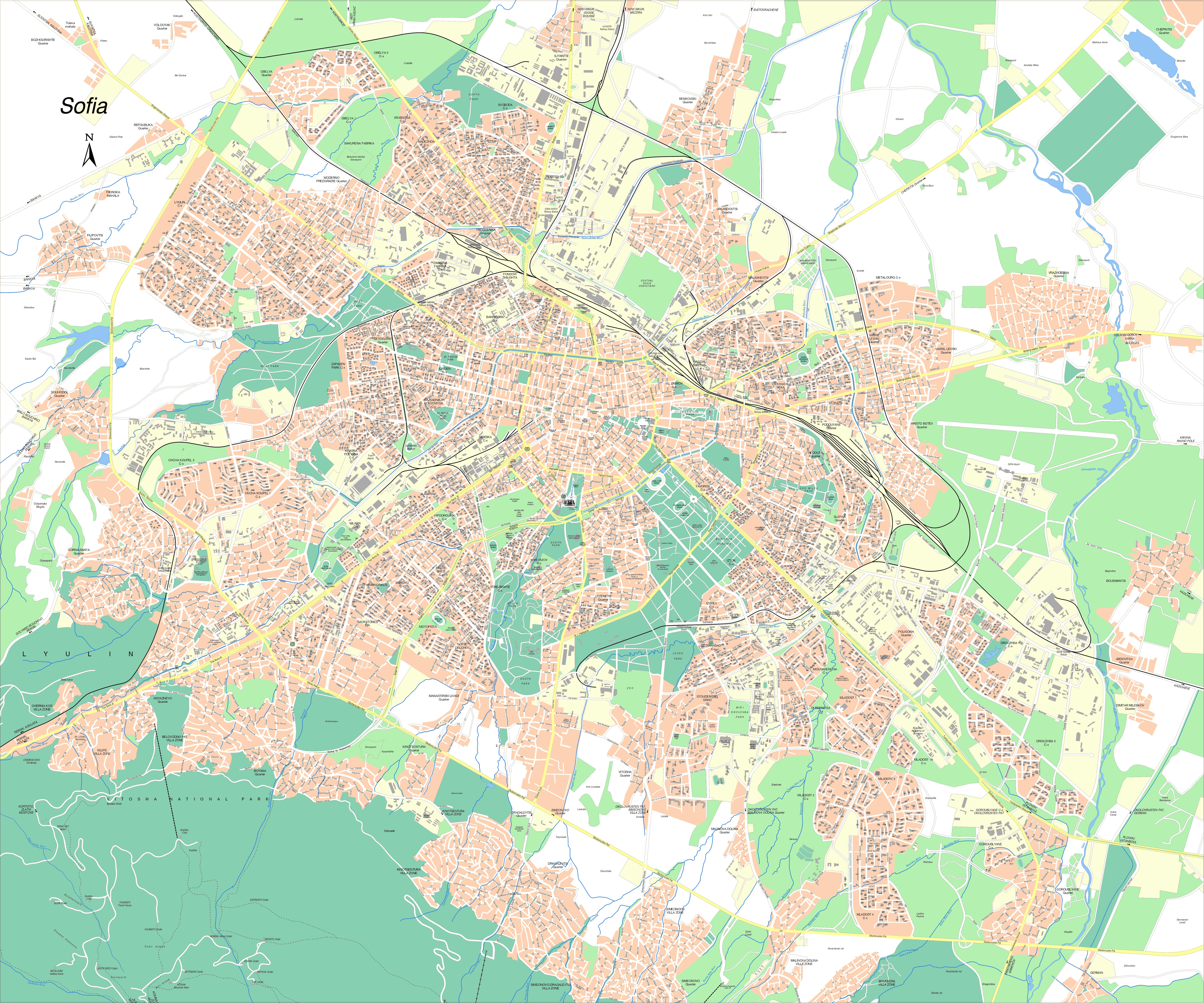 Sofia, city map, Bulgaria
