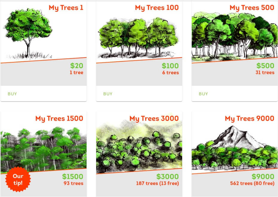 My Trees - Investment packages. My Trees1 / $20 / 1 tree. My Trees 100/ $100 / 6 trees. My Trees 500/ $500 / 31 trees. My Trees 1500/ $1500 / 93 trees. My Trees 3000/ $3000 / 187 trees (13 free). My Trees 9000/ $9000 / 562 trees (80 free).