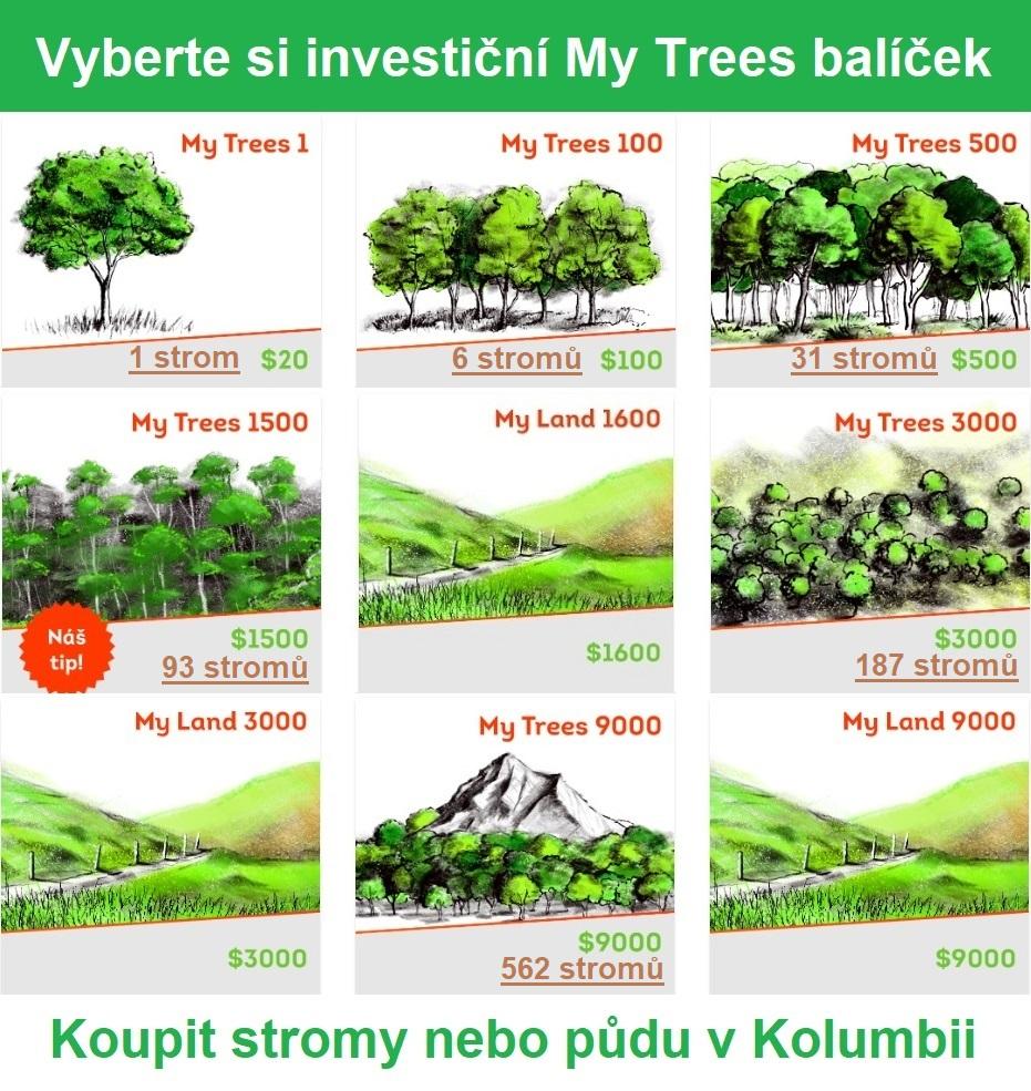 Vyberte si investiční My Trees balíček/Koupit stromy nebo půdu v Kolumbii. My Trees1/20 USD/1 strom. My Trees 100/100 USD/6 stromů. My Trees 500/500 USD/31 stromů. My Trees 1500/1500 USD/93 stromů. My Trees 3000/3000 USD/187 stromů. My Trees 9000/9000 USD/562 stromů