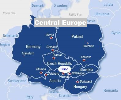 Central Europe Map - Prague capital (Czech Republic), Vienna capital (Austria), Bratislava capital (Slovakia), Berlin capital (Germany), Budapest capital (Hungary), Warsaw capital (Poland)