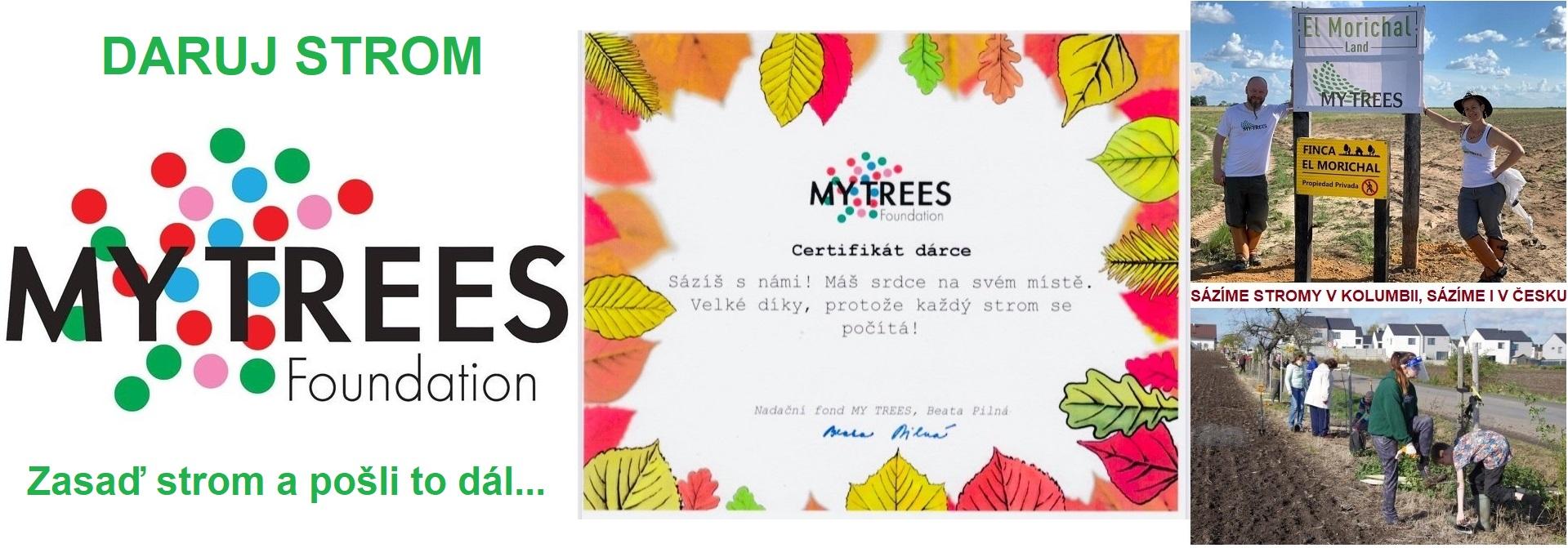 Nadační fond My Trees: Získej Certifikát dárce. Zasaď strom a pošli to dál. Každý strom se počítá. Koordinujeme zalesňovací projekty jak v České republice, tak v Evropě. Koordinujeme zalesňovací projekty jak v České republice, tak v Evropě. Sázíme stromy po celém světě a propojujeme lidi, kterým není jedno, jakou Zemi necháme našim dětem. Miliarda stromů je náš cíl. A my to dáme! Nechceme jednou na lesy jen vzpomínat. Pojď sázet s námi!