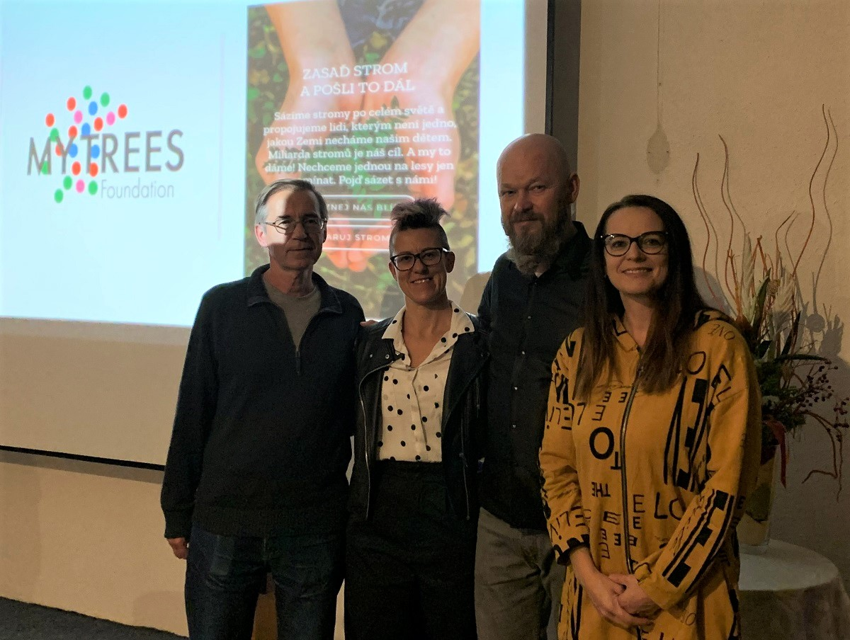 Joint photo from a meeting with the founders of the My Trees project in Brno. Pictured from left: Zdenek Pernica, partner of My Trees / PERNICA.BIZ, Beata Pilná, member of the Board of Directors of DEGIRANS SE, wife of Jaroslav Pilný, Jaroslav Pilný, founder of the My Trees project, husband of Beata Pilná, and Vladka Anderson, CEO of Perfect Network, Inc.