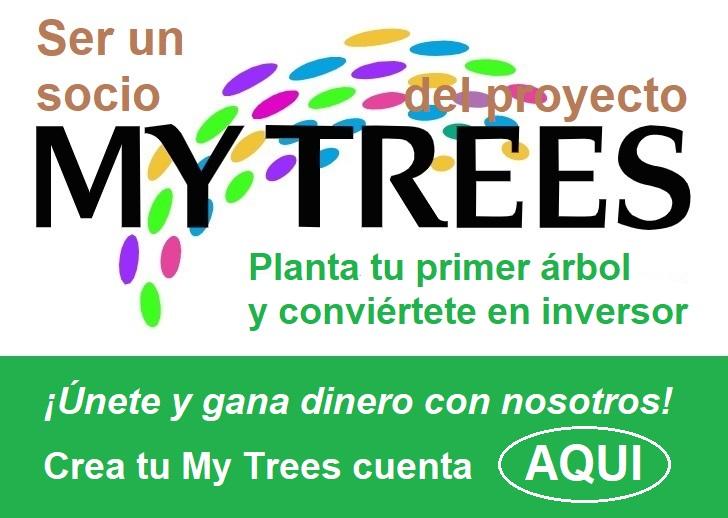 Ser un socio My Trees del proyecto.  Planta tu primer árbol y conviértete en inversor. ¡Únete y gana dinero con nosotros! Crea tu My Trees cuenta aqui.