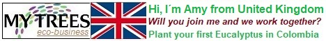 My Trees Global project – Hi, I am Amy from United Kingdom. My sponsor is Zdenek Pernica. Will you join me and me work together? Plant your first Eucalyptus pellita in Colombia.