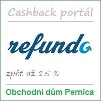 Obchodní dům Pernica – partner cashback portálu Refundo.cz: má 558 partnerských e-shopů (působí též na Slovensku – 571 partnerů a v Maďarsku – 244 partnerů) a odměny za nákupy až 15 %. Možnost nákupu přes mobilní aplikaci. Vstupní bonus je 50 Kč a odměna za doporučení 105 Kč. Cashback portál Refundo nabízí rovněž věrnostní program, kupóny na slevy a hromadné slevy (cashback + slevový portál).