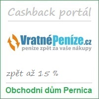Obchodní dům Pernica – partner cashback portálu Vratnepenize.cz: má 406 partnerských e-shopů a odměny za nákupy až 15 %. Možnost nákupu přes mobilní aplikaci. Vstupní bonus je 50 Kč a odměna za doporučení 200 Kč. Cashback portál Vratné peníze nabízí rovněž kupóny na slevy a hromadné slevy (cashback + slevový portál).