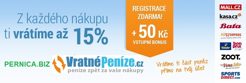 PERNICA.BIZ – partner portálu Vratnepenize.cz - Z každého nákupu ti vrátíme až 15 % přímo na tvůj účet. Registrace zdarma + 50 Kč vstupní bonus!